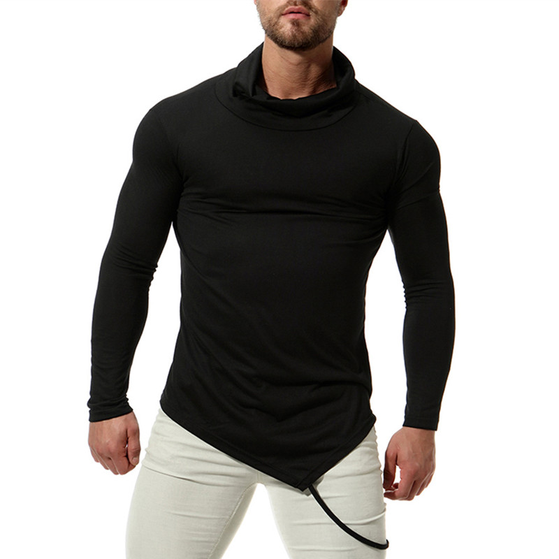 British 2018 Muscle Tee Mens T Shirts Long Sleeve High Neck Male Tee Tops Joggers Fashion Mens Clothing Plain Pure T shirts
