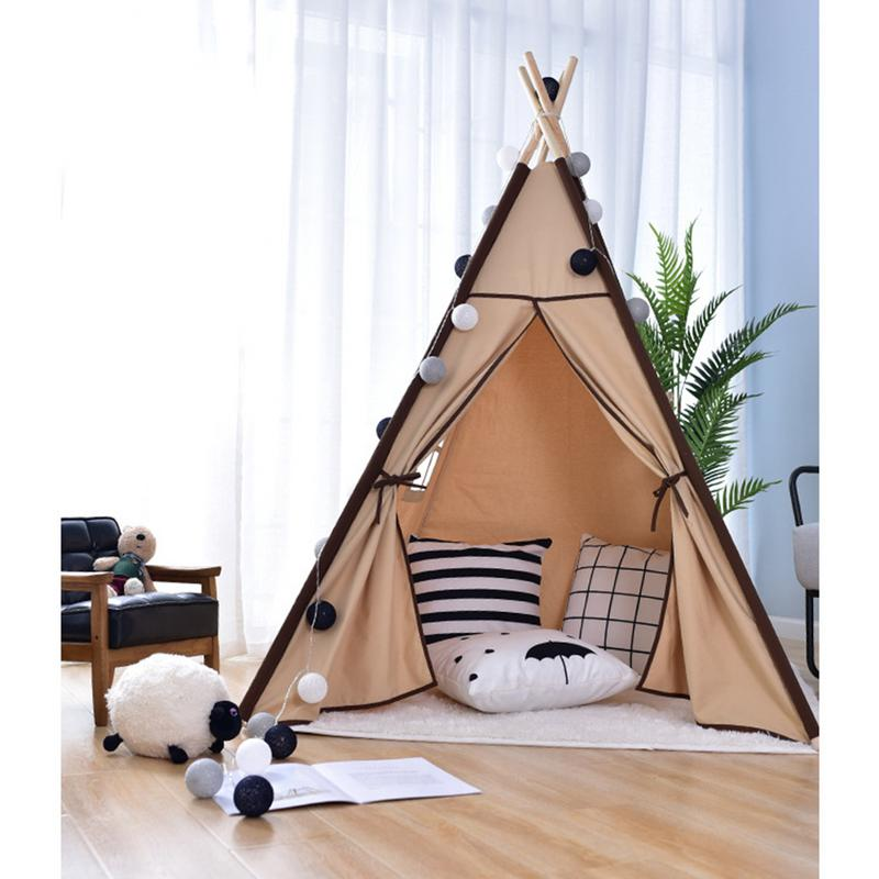 Kids Teepee Play Tent - Cotton Canvas Indian Children Playhouse With Mat Indoor Outdoor Toy Boys Girls Baby Gift
