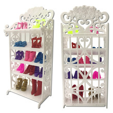 One Set Newest Doll Shoes Rack Playhouse Accessories For Doll House White Miniature Furniture Kids Pretend Play For Girl Gift