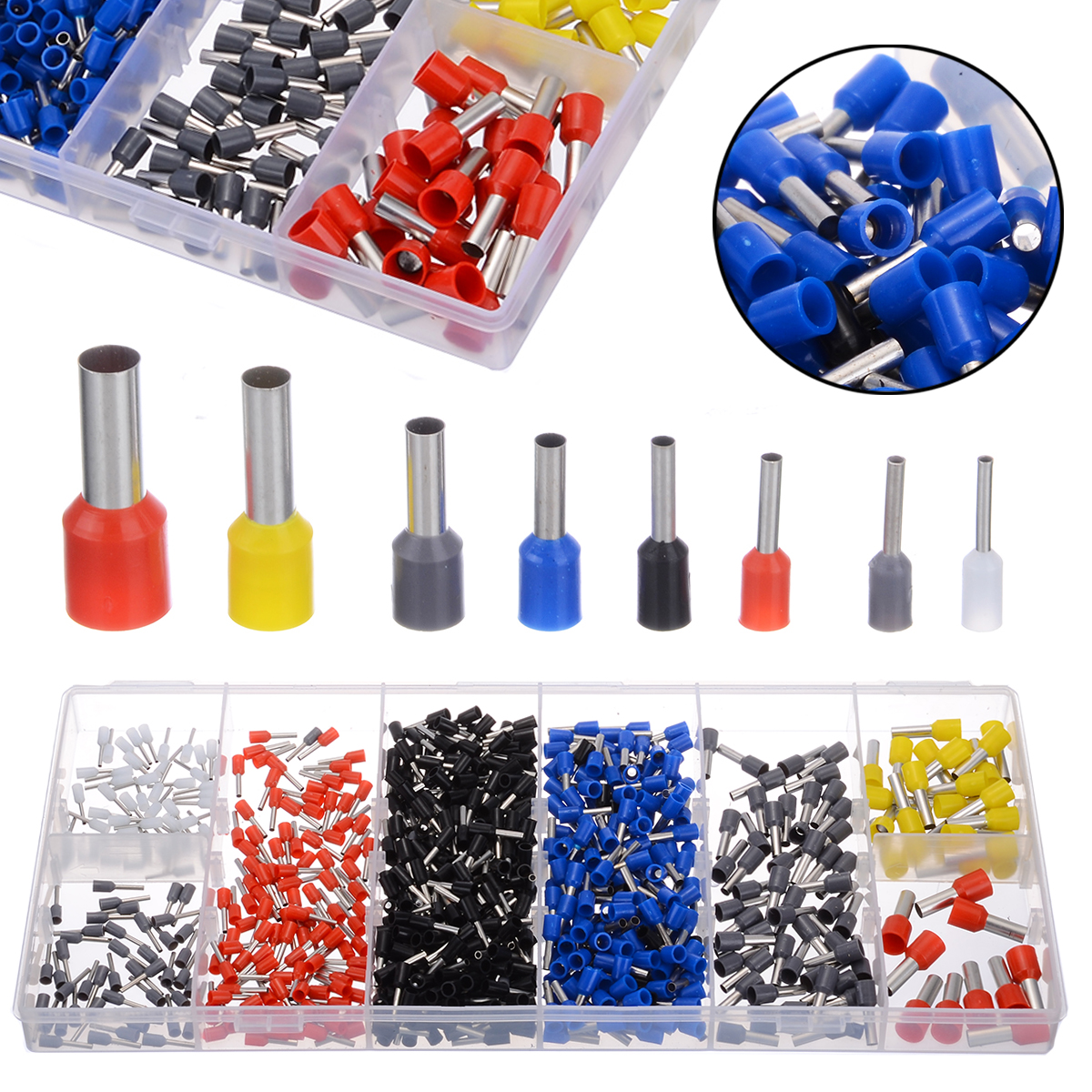 685pcs/box Insulated 0.5-10mm2 End Sleeve Cable Lugs Wire Ferrule Terminal Assortment Kits Connector Terminals