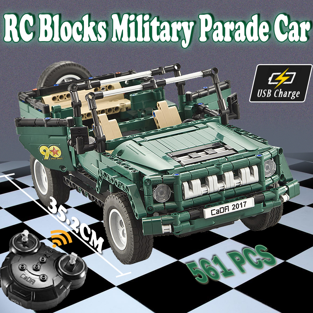 RC Car Military Parade Car Model diy kit Building Blocks toy Remote Control cars Jeep Toys