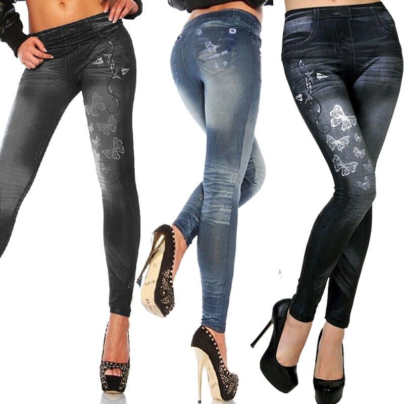 Women Printed Fake Jeans Leggings Autumn Denim Pants Skinny Faux Jeans Trousers Stretch Skinny Leggings Pencil Pants