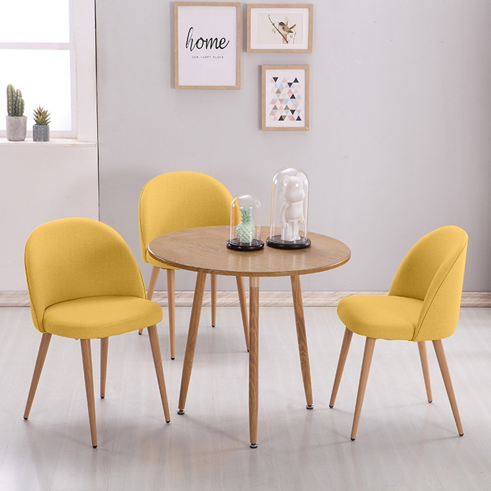 2 Set Smooth Fabric Dining Chairs Retro Solid Wood Sitting Room Chair Leisure Meeting Chair Kitchen Lounge Room Furniture