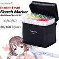 TIANHAO 30/40/60/80/168 цветов  набор маркеров на спиртовой основе  чернильные скетч-маркеры для художников  для рисования манги  анимационные принадл...