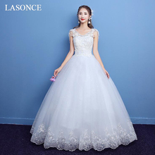 LASONCE Illusion V Neck Lace Appliques Ball Gown Wedding Dresses Elegant Beading Tank Sequined Backless Bridal Gowns цена
