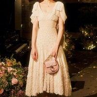 Высокое качество подиумное Платье женское бежевое с v образным вырезом жемчужное Бисероплетение нерегулярное платье миди вечерние 2019 летн