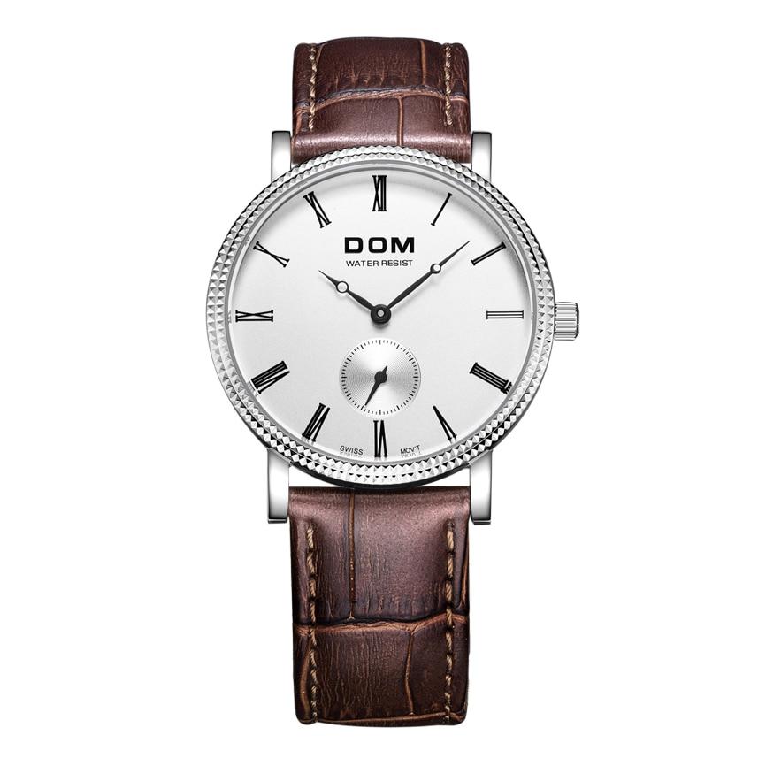 Dom MenS Leather Watch Retro Design Quartz Sports Business Waterproof WatchDom MenS Leather Watch Retro Design Quartz Sports Business Waterproof Watch