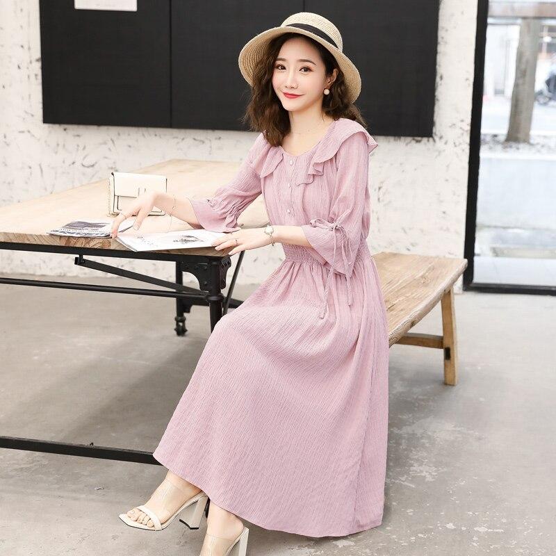 2019 summer pregnant women dress flare half sleeve peter pan collar stretched waist maternity empire dress sweet chiffon dress 13