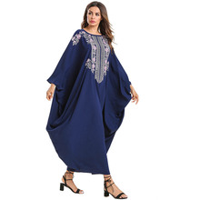 2019 new Fashion Long Sleeve Women Clothing National Embroidered Batwing Sleeve Dress Plus size