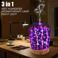 Air Humidifier 100ml Aromatherapy Diffuser 3D Glass LED Night Light Electric Essential Oil Diffuser Air Purifier Mist