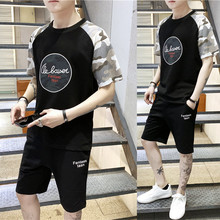 2019 new short-sleeved T-shirt Mens summer Korean version sleeves clothes tracksuit Fashion Thin Preppy Style Free shipping