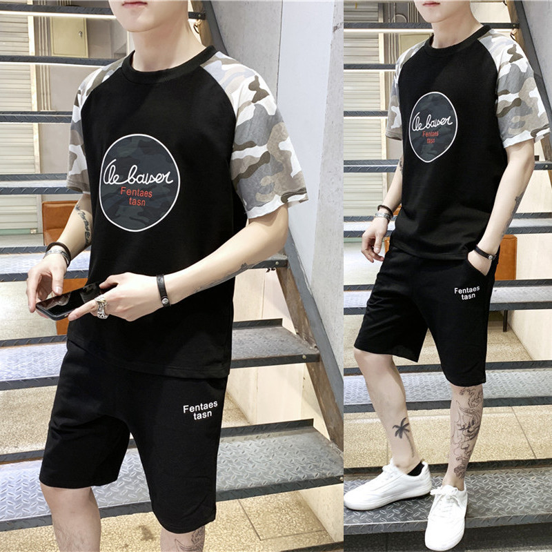2019 new short sleeved T shirt Men's summer Korean version sleeves clothes tracksuit Fashion Thin Preppy Style Free shipping