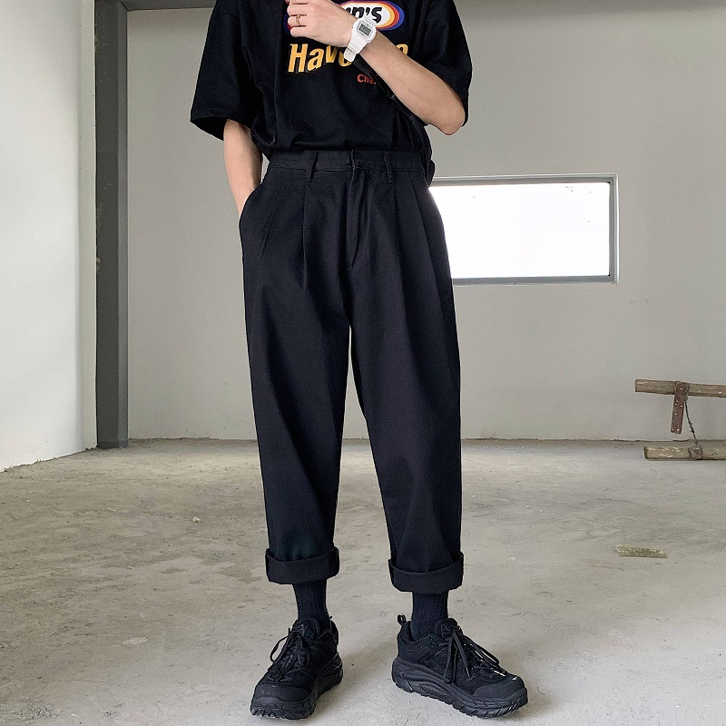 2019 Men's Simple Leisure Mens Cotton Harem Pants Loose Fashion Trend Black Color Casual Pants Male Trousers Plus Size M-XL
