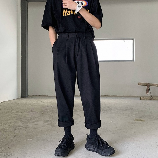 2020 Mens Simple Leisure Mens Cotton Harem Pants Loose Fashion Trend Black Color Casual Pants Male Trousers Plus Size M XL