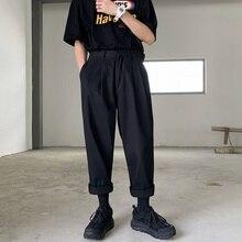 2020 الرجال بسيطة الترفيه رجل القطن سراويلي حريمي موضة فضفاض الاتجاه أسود اللون سراويل تقليدية الذكور بنطلون حجم كبير M XL