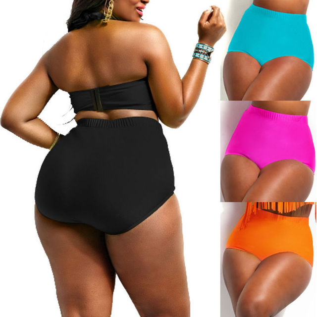 2018 New Style Fashion Hot Women Sexy Bikini Lady Solid Push up Beach Swimsuit High Waist Bottoms Plus Size Briefs