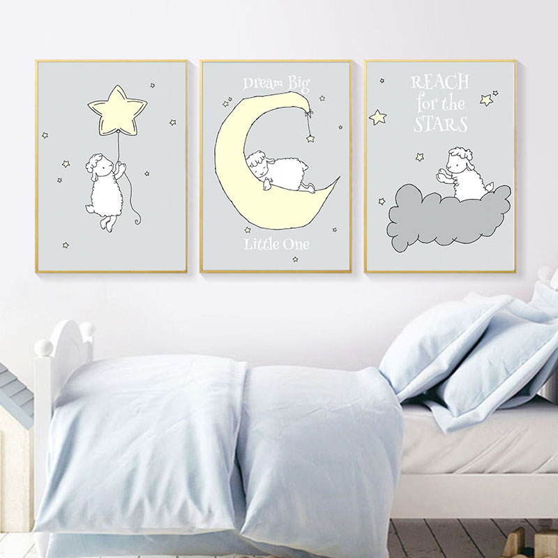 Us 2 99 47 Off Cartoon Lamb Canvas Poster Wall Art Nursery Print Painting Nordic Kids Moon And Star Pictures Children Boys S Bedroom Decor In