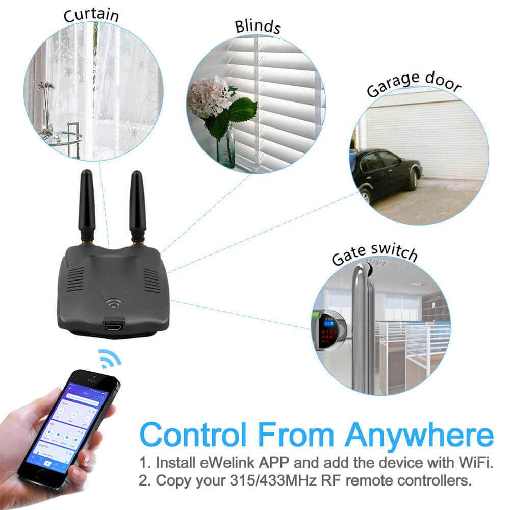 EWeLink RF Bridge 315MHz & 433MHz Module domotique intelligent Wifi commutateur sans fil minuterie universelle bricolage convertir 315/433MHz RF