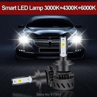 Combination Changable Color 3000K+4300K+6000K LED Headlight H1 H3 H4 H7 880 H11 9005 9006 9012 LED Bulb 2PCS/LOT for Replacement