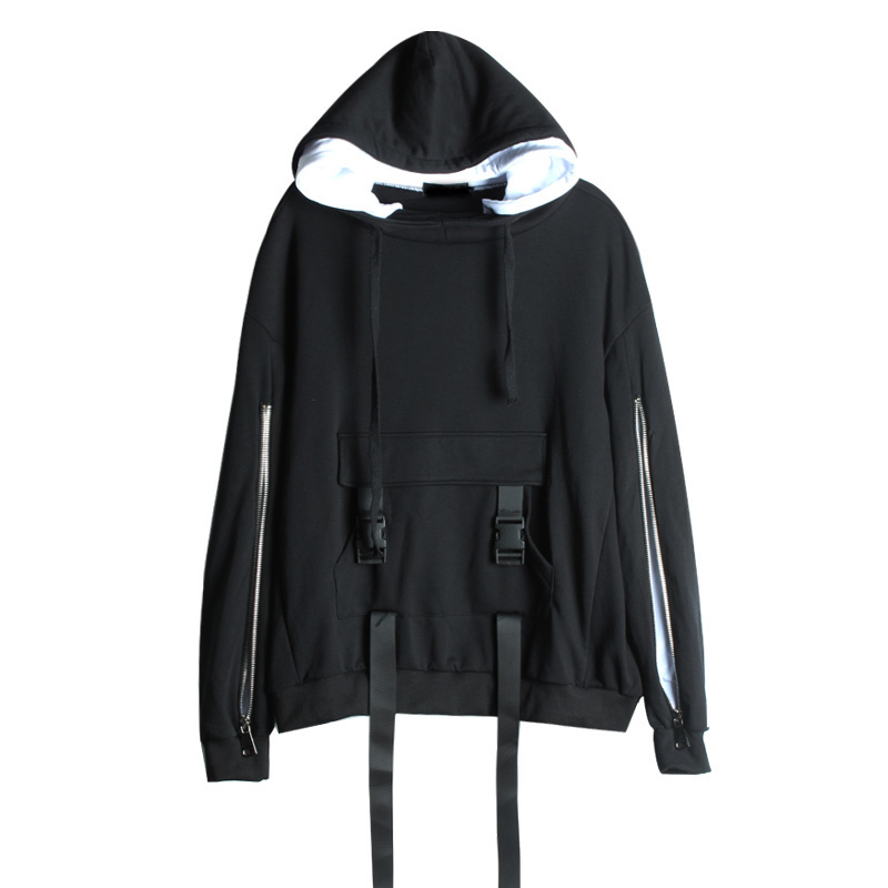 LANMREM 2018, новая мода, большие размеры, черный и белый цвета, с капюшоном, на молнии, с длинным рукавом, толстовка, женские топы, свободные толстовки, Vestido YE89201 - 6