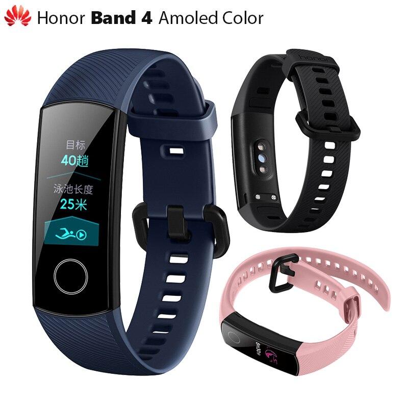 D'origine Huawei Honor Bande 4 Smart Bracelet Amoled Couleur 0.95 Écran Tactile De Natation Posture de Détecter la Fréquence Cardiaque Sommeil Snap
