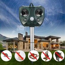 Ultrasonik haşere ve kemirgen kovucu fare/sıçan fare güneş kuş kovucu Scarer PIR sensörü kedi/köpek/tilki/ yılan vb. hayvan uzak tutun