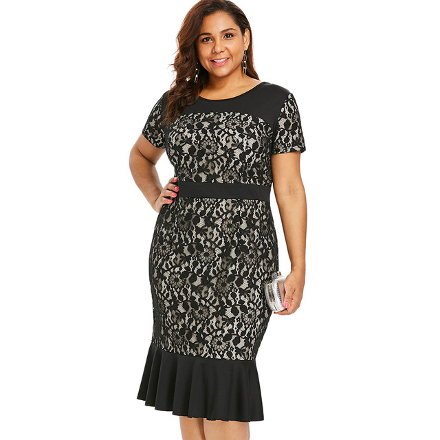 US $15.17 49% OFF|Wipalo Plus Size Lace Panel Mermaid Dress Women Short  Sleeve O Neck Sheath Bodycon Dress Casual Black Lace Office Lady Dresses-in  ...