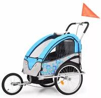 VidaXL 2 в 1 детский велоприцеп и коляска синие детские стулья открытая детская мебель каретки детское кресло