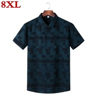8XL 7XL 6XL Men's Spring and summer Casual Short sleeve Sleeved Shirt Fashion Elegant Business office Work Wear Blouse Males