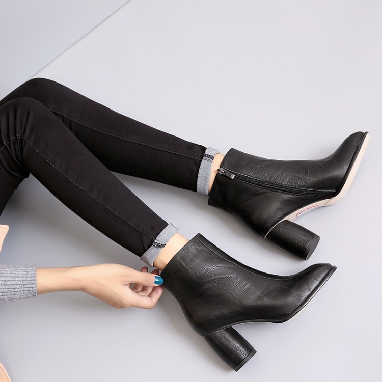 Fashion Square toe Women Shoes Spring in Zipper PU Leather Striped Ankle Boots Round Toe with High HeelFashion Square toe Women Shoes Spring in Zipper PU Leather Striped Ankle Boots Round Toe with High Heel