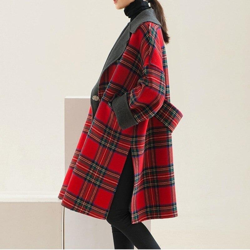 Manches De Plaid Red Revers Parkas Hiver 2018 Eam Manteau Nouveau Laine Couture Mode Rouge Longues Taille Automne Grande Wkoud Ld018 Femmes Épaissir A6YFqS1w