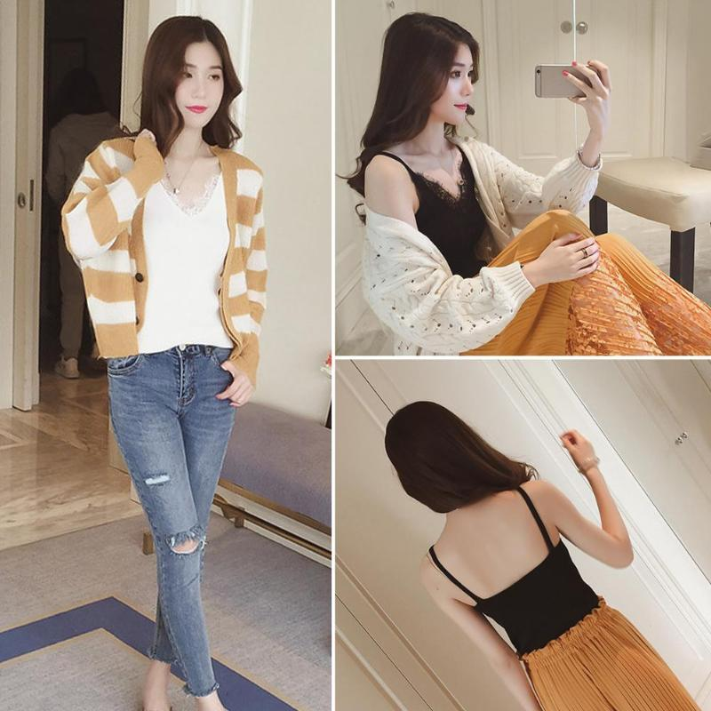 2018 Fashion Sexy Knitting Camisoles Tank Women Plain Lace Tops Splicing Deep V-neck Slim Sling Solid Patchwork Soft Girl Female