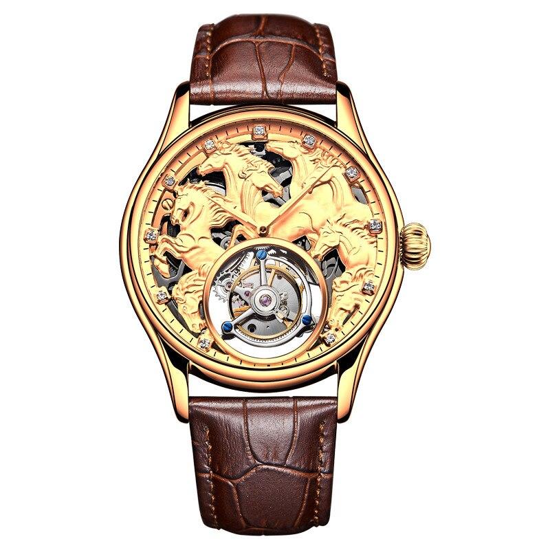 Homens Tourbillon relógio de Pulso High-end personalizado 24 K Relógio À Prova D' Água Relógio Mecânico Automático Dos Homens de Ouro