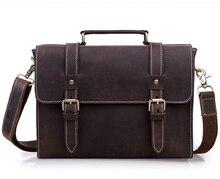 цена на Vintage Crazy horse Leather Messenger bag men Genuine Leather shoulder Bags men Crossbody bag Tote office bag tote Handbag brown
