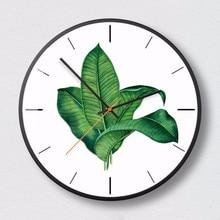 New Wall Clocks 3D INS Green Plant Wall Clock Nordic Minimalist Wall Clock Large Size Silent Movement Clocks For Living Room