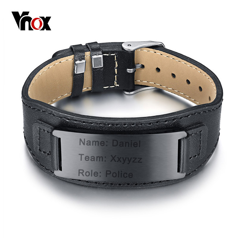 Vnox Free Engraving Genuine Leather Bracelet for Men Woman Stainless Steel ID Cuff Bangle Adjustable CustomizedVnox Free Engraving Genuine Leather Bracelet for Men Woman Stainless Steel ID Cuff Bangle Adjustable Customized