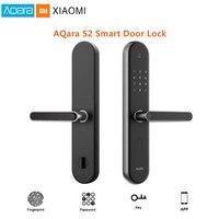 Xiao mi jia Aqara S2 отпечатков пальцев умный безопасный замок для двери цифровой сенсорный экран без ключа пароль умный дом приложение управление