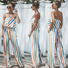 2019 Fashion Women Jumpsuit Romper Colorful Striped Strapless Wide Leg Trousers Party Office Ladies Summer Female Clothes Xnxee