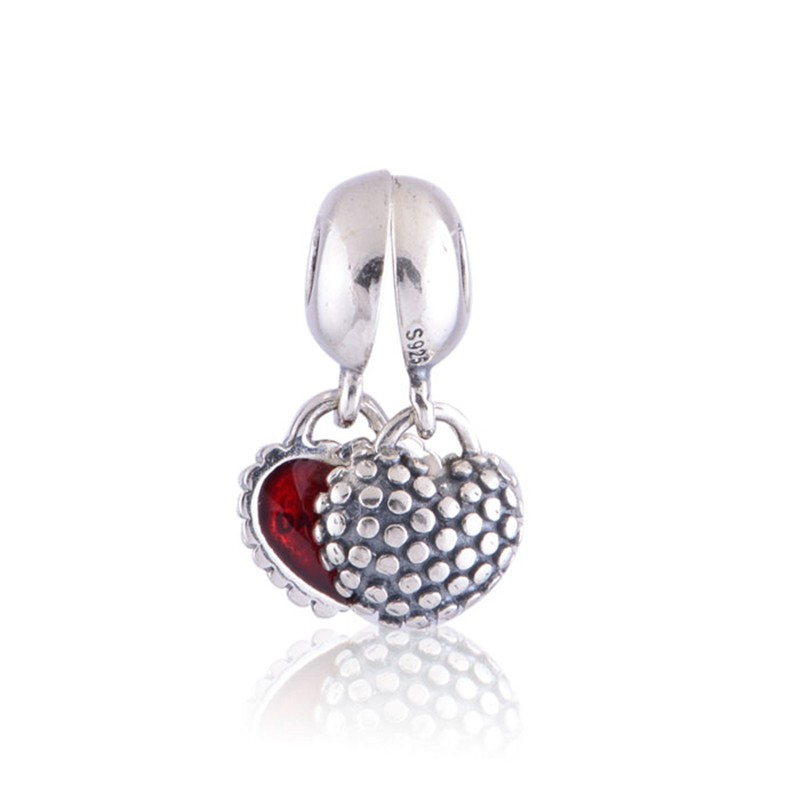 FANDOLA Beads Real 925 Sterling Silver Mother Daughter Charm Fits Brand Bracelets Charms for Women DIY Beads Jewelry L087