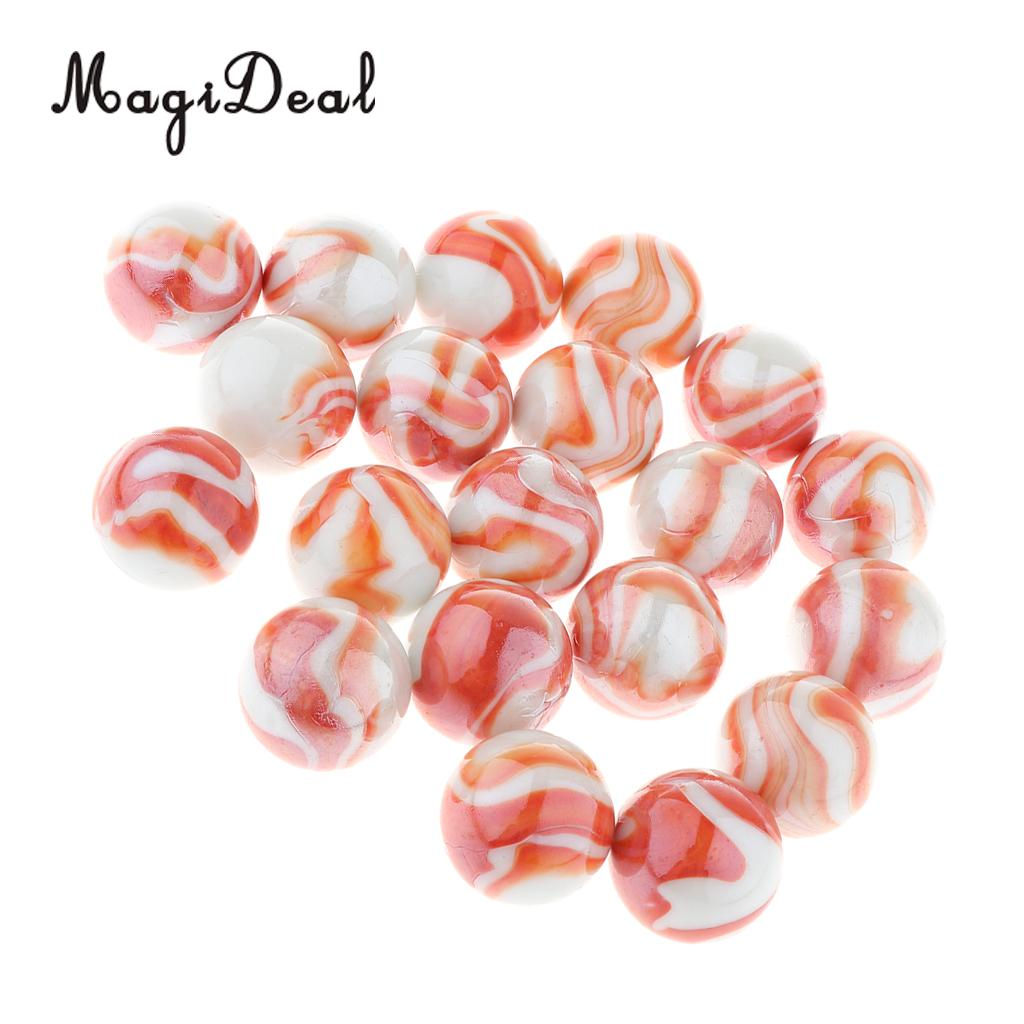 20pcs 25mm Floral Stripes Glass Marbles, Kids Marble Run Game, Marble Solitaire Toy Accs Vase Filler & Fish Tank Home Decor