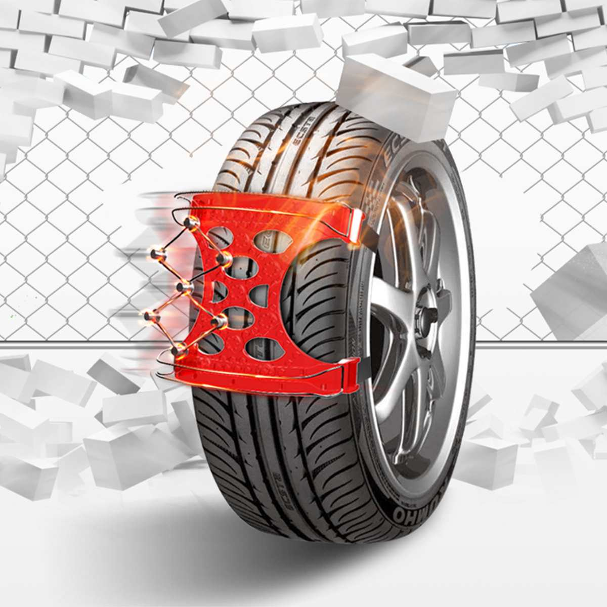 6 pièces général Automobile pneu boeuf Tendon chaîne TPU Stell fil neige chaîne universel voiture costume pour tout-terrain SUV sécurité anti-dérapant