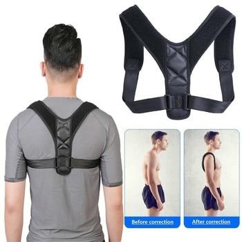 89d676639bfc Corrector de postura ajustable en la espalda cinturón elástico de nailon  hombro Lumbar columna soporte Invisible Humpback cinturón para hombres y ...