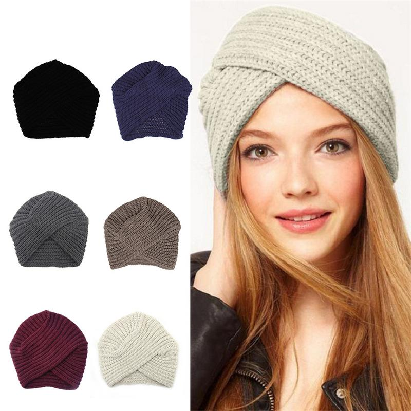 Women's Knitted Turban Hats Funny Cute Head Wrap Cross India Caps Ladies Winter Warm Winter Autumn Clothes Accessories