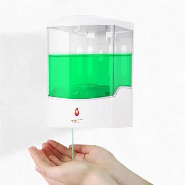 Dispensador de sabão sensor ir automático, dispensador de sabão para montagem na parede com sensor ir, sem toque, 600/700/1000ml casa líquida para cozinha banheiro