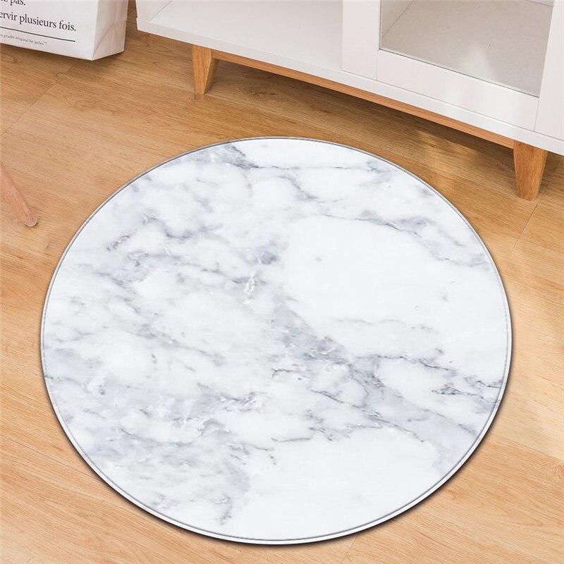 Floor Mat Black White Marble Print House Round Carpet For Living Room Anti-Slip Rug Bedroom Computer Chair Hang Basket Mat Dywan