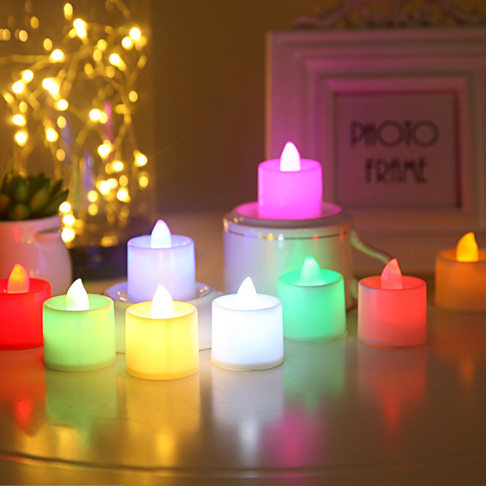 Battery Powered Multicolor LED Candle Tea Light Easter Candle Cheap Color Flame LED Lights Christmas Decorations For Home