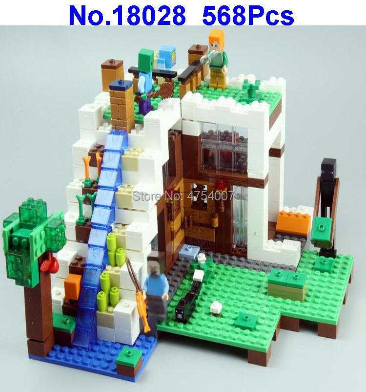 568pcs My World Mysterious Waterfall Hut Villa House Lepin Building Block Figures Compatible ...