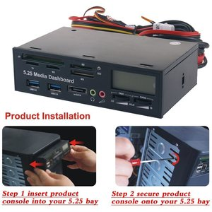 """Image 4 - Multi functional Media Panel 5.25"""" Computer Front Dashboard with SATA USB Microphone/Headphone Audio Port Integrated Card Reader"""