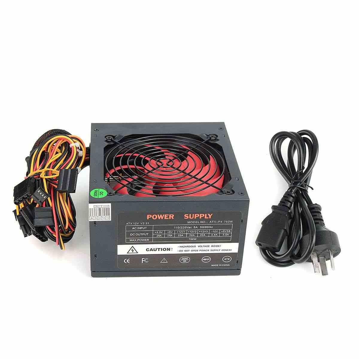750W PSU ATX 12V Gaming PC Power Supply 24Pin / PCI /SATA /ATX  700 Walt 12CM Fan New Computer Power Supply For BTC