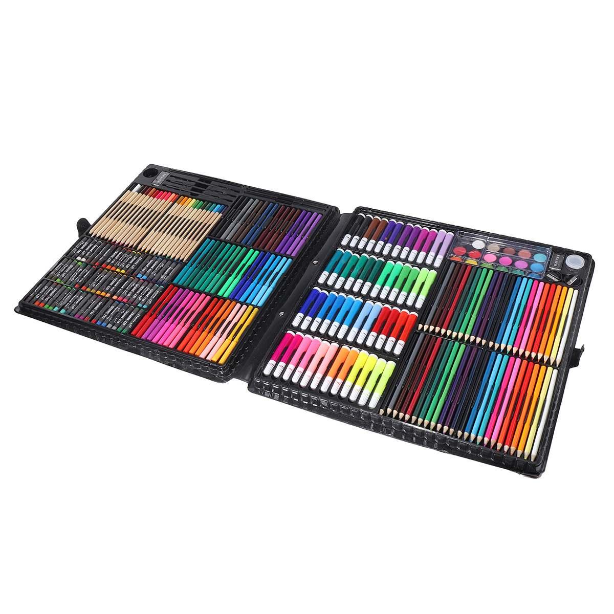258 pièces professionnel peinture dessin stylo Art ensemble esquisse couleur crayon Pastel gomme peinture boîte cadeau d'anniversaire - 4